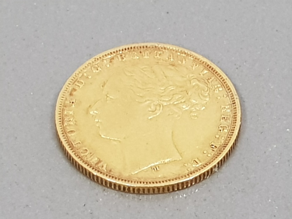 22CT GOLD 1875 FULL SOVEREIGN COIN WITH HEAD UPSIDE DOWN - Image 2 of 2