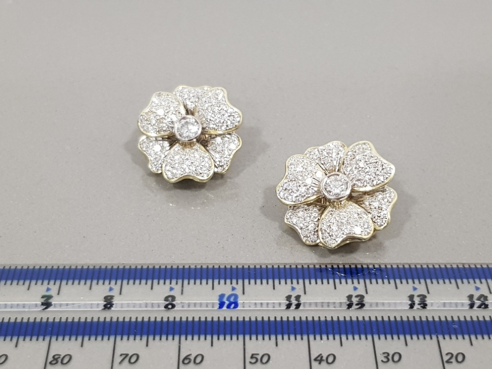 14CT YELLOW GOLD DIAMOND FLOWER CLUSTER STUD EARRINGS APPROXIMATELY 2CTS COMPRISING ROUND - Image 2 of 3