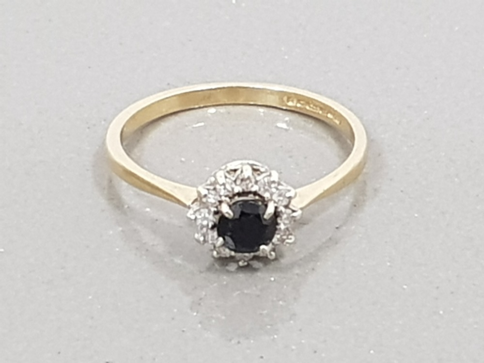 9CT YELLOW GOLD SAPPHIRE AND DIAMOND CLUSTER RING SIZE L1/2