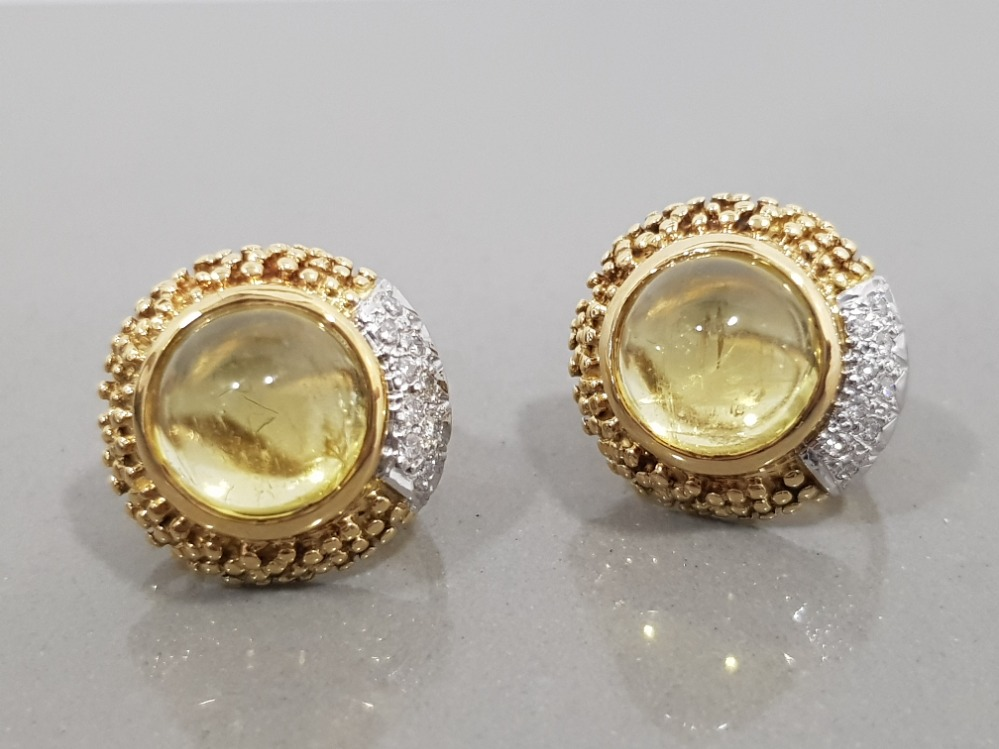 18CT GOLD YELLOW BERYL CABOCHON CUT WITH DIAMONDS MADE BY ALABASTER AND WILSON
