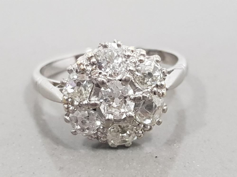 18CT WHITE GOLD & PLATINUM 7 STONE DIAMOND CLUSTER RING 3G SIZE J