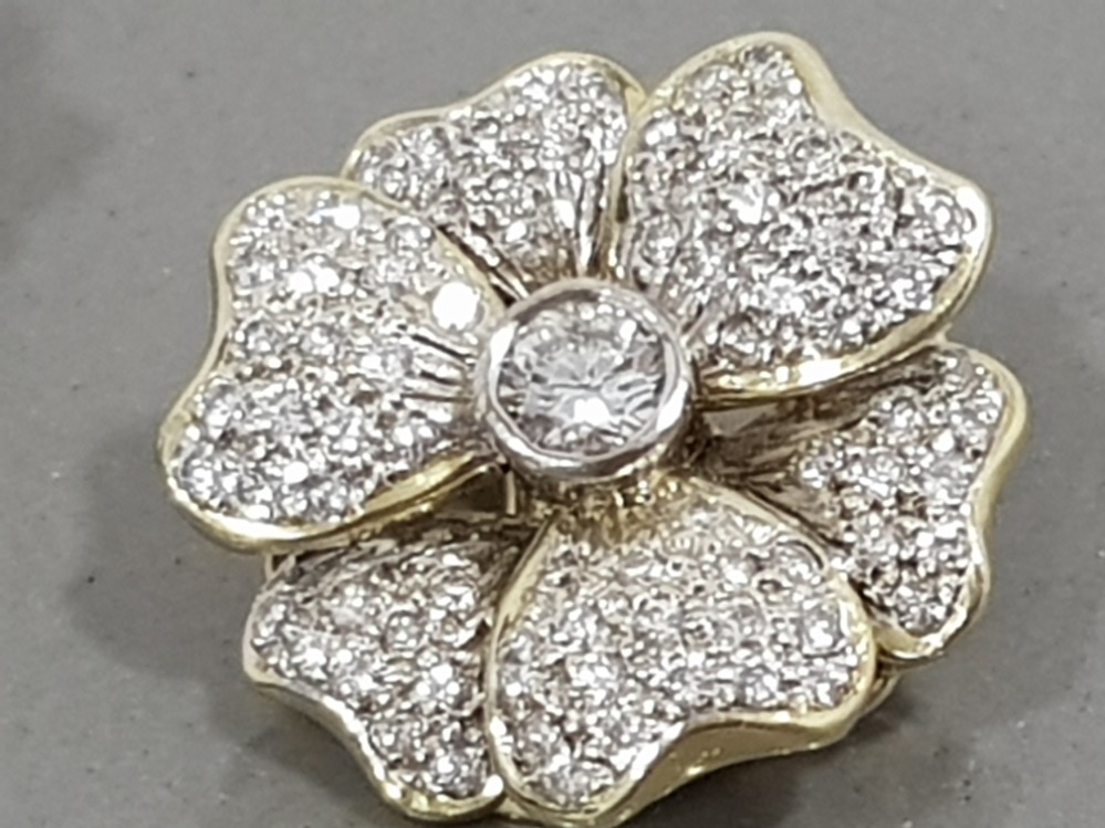 14CT YELLOW GOLD DIAMOND FLOWER CLUSTER STUD EARRINGS APPROXIMATELY 2CTS COMPRISING ROUND - Image 3 of 3