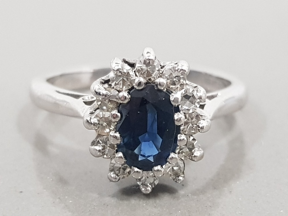 18CT WHITE GOLD SAPPHIRE AND DIAMOND CLUSTER RING 4.3G SIZE M