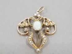 ANTIQUE 15CT GOLD VICTORIAN OPAL AND PEARL PENDANT