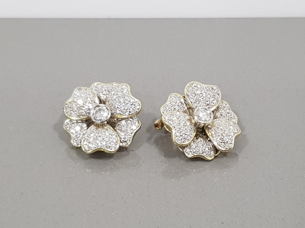 14CT YELLOW GOLD DIAMOND FLOWER CLUSTER STUD EARRINGS APPROXIMATELY 2CTS COMPRISING ROUND