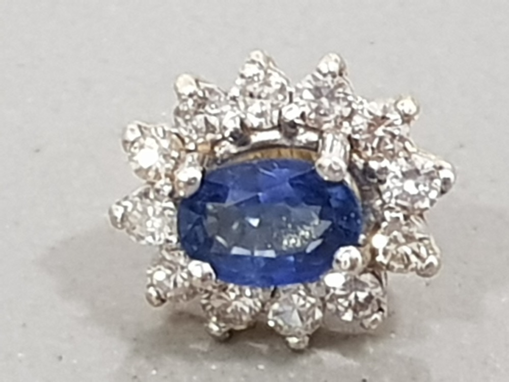 18CT YELLOW GOLD DIAMOND AND SAPPHIRE CLUSTER EARRINGS - Image 3 of 3