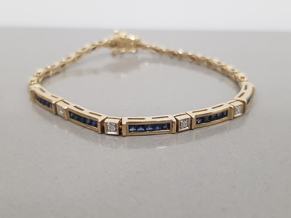 9CT GOLD SAPPHIRE AND DIAMOND LINE BRACELET
