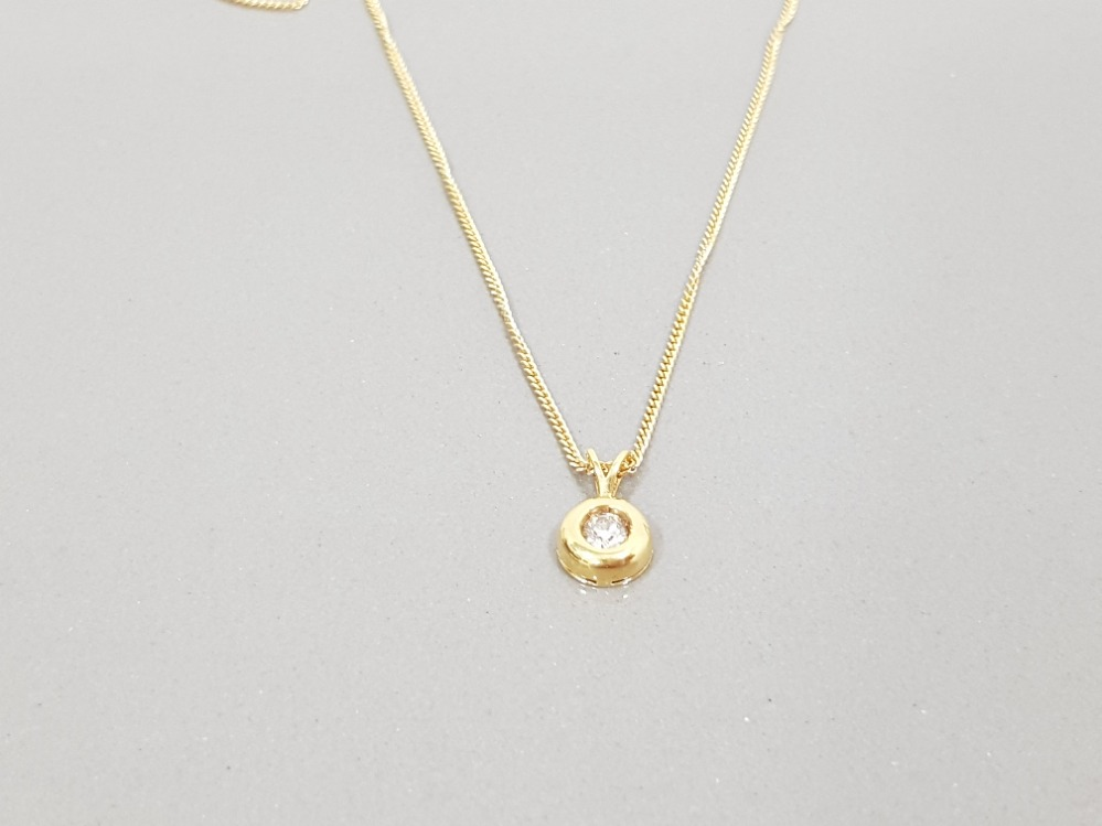 18CT YELLOW GOLD LADIES DIAMOND SOLITAIRE PENDANT ON A FINE 18CT GOLD CHAIN - Image 2 of 2