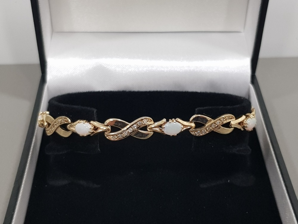 9CT GOLD OPAL AND DIAMOND LINE BRACELET - Image 3 of 3