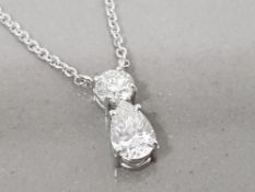 18CT WHITE GOLD 2 STONE DIAMOND PENDANT ON 18CT WHITE GOLD CHAIN .90CT TOTAL