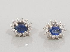 18CT YELLOW GOLD DIAMOND AND SAPPHIRE CLUSTER EARRINGS