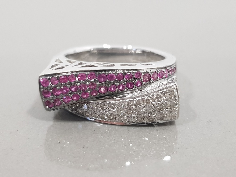 14CT WHITE GOLD PINK SAPPHIRE AND DIAMOND CROSS OVER CLUSTER RING 8.2G SIZE N