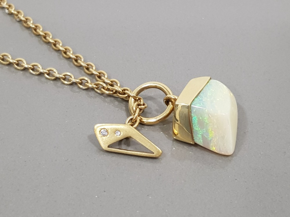 18CT YELLOW GOLD OPAL AND DIAMOND ORNATE PENDANT WITH T BAR STYLE FASTENING COMPLETE WITH BELCHER