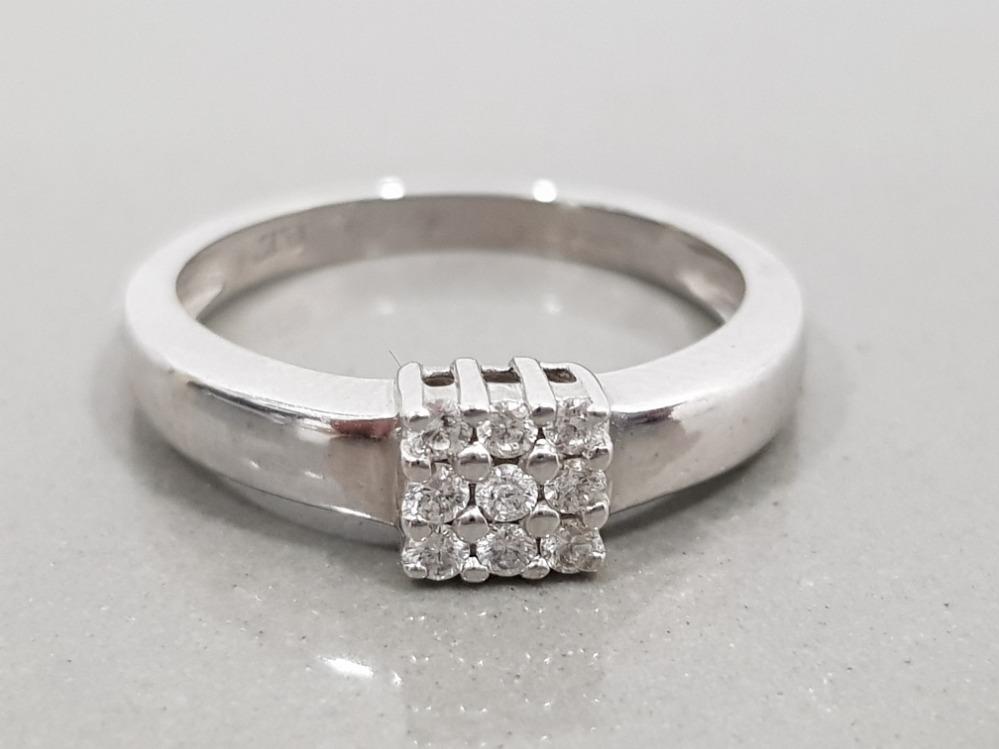 18CT WHITE GOLD 9 STONE DIAMOND CLUSTER RING 3G SIZE K