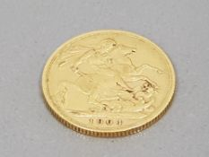 22CT GOLD 1904 FULL SOVEREIGN COIN