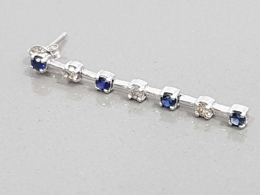 14CT WHITE GOLD DIAMOND AND SAPPHIRE DROP EARRINGS COMPLETE WITH BUTTERFLY BACKS - Image 2 of 2