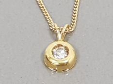 18CT YELLOW GOLD LADIES DIAMOND SOLITAIRE PENDANT ON A FINE 18CT GOLD CHAIN