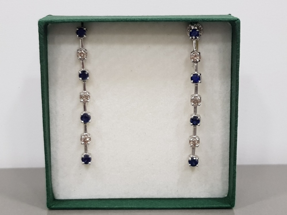 14CT WHITE GOLD DIAMOND AND SAPPHIRE DROP EARRINGS COMPLETE WITH BUTTERFLY BACKS