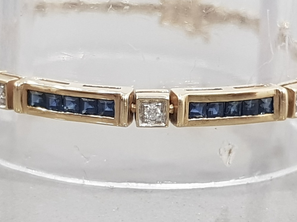 9CT GOLD SAPPHIRE AND DIAMOND LINE BRACELET - Image 3 of 3