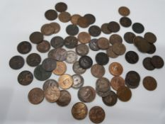 70 FARTHINGS FROM 1754-1942 INCLUDING 1905 MIXED GRADE MANY WITH LUSTRE