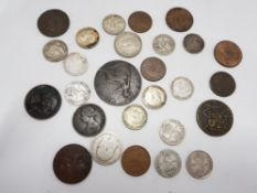 MIXED COLLECTION OF UK COINAGE INCLUDING KEY DATES 1956 1/4 D, 1952 6D, 1844 1/2 OF FARTHING ETC