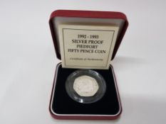 1992- 1993 SILVER PROOF PIEDFORT 50P COIN, RARE EEC MINTAGE 15,000 IN ORIGINAL PACKING AND CASE WITH