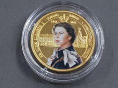GOLD COIN GHANA QUEEN ELIZABETH 500 SIKA IN ORIGINAL CASE 5G IN WEIGHT 9CT GOLD