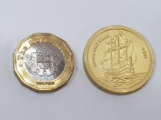 2 COINS INCLUDING 2015 ROYAL MINT TRIAL 1 POUND RARE B. METALLIC B.UNC AND 1994 ROYAL MINT TRIAL 2