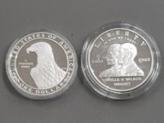 2 COINS INCLUDING USA 1983 OLYMPIC 1 DOLLAR SILVER PROOF COIN AND 2003 WRIGHT BROTHERS 1 DOLLAR