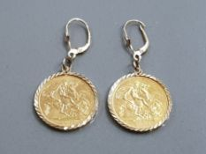 A PAIR OF 22CT GOLD SOVEREIGN EARRINGS 9.5G