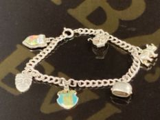 A WHITE METAL CHARM BRACELET WITH VARIOUS SILVER GRADED CHARMS 19.2G GROSS