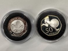 2 ROYAL MINT SILVER PROOF 50P COINS INCLUDES 2007 SCOUTS MINTAGE 12,500 AND 50TH ANNIVERSARY OF