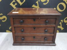 ANTIQUE MINIATURE CHEST OF DRAWERS POSSIBLY AN APPRENTICE PIECE WITH EBONY HANDLES HEART SHAPED