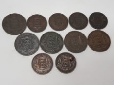 11 JERSEY COIN SET ALL VICTORIAN WITH MANY HIGH GRADES