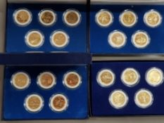 20 USA GOLD COINS PLATED STATEHOOD QUARTERS DIFFERENTLY HOUSED IN 4 DISPLAY BOXES WITH CERTIFICATES