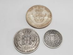3 WORLD SILVER COINS, 1X DENMARK, 5 KRONER WITH LOW MINTAGE HIGH GRADE WITH LUSTRE