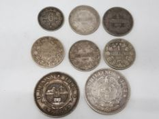 8 SOUTH AFRICAN SILVER COINAGE, 1892 1D, 1895 6D, 1894, 1896, 1897 ETC