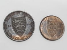 2 JERSEY COINS INCLUDING VICTORIA 1/2 SHILLING 1894 EF PLUS TRACE OF ORIGINAL LUSTER AND A 1/2
