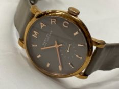 STAINLESS STEEL MARC BY MARC JACOBS WRISTWATCH, GENUINE LEATHER STRAP