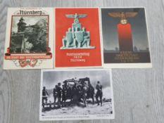 4 THIRD REICH WAR TIME PROPAGANDA CARDS THREE USED IN NUREMBERG
