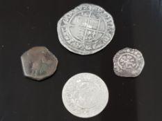 4 OLD COINS MAINLY HAMMERED 1567 ELIZABETH 1