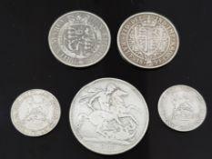 5 SILVER COIN COLLECTION INCLUDING 1889 CROWN VICTORIA, 1899 HALF CROWN VICTORIA, 1918 SHILLING
