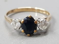 9CT GOLD SAPPHIRE AND CZ 3 STONE RING 2.1 G GROSS SIZE- N