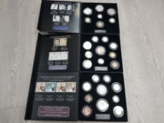 QUEENS CORONATION JUBILEE, QUEENS PLATINUM WEDDING AND PRINCE CHARLES 70TH COIN SETS AND A SET OF