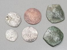 6 OLD COIN COLLECTION INCLUDING COBS, SILVER COINAGE ETC