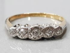 18CT GOLD AND PLATINUM 5 STONE DIAMOND RING 2.1 G GROSS SIZE- M