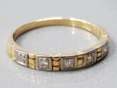 18CT GOLD 5 STONE DIAMOND 1/2 ETERNITY RING MAKER CHARLES GREEN AND CO HM BIRM 1970/71 2.0G GROSS