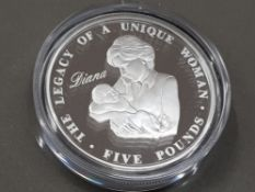 5 POUND CROWN SILVER PROOF DIANA COIN, BOXED 2007 ALDERNEY WITH COA IN ORIGINAL PACKING AND CASE,