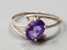 SILVER SOLITAIRE AMETHYST RING 1.8G GROSS SIZE Q 1/2