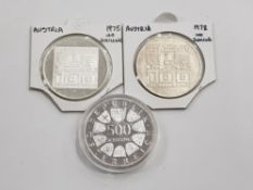 3 AUSTRIAN SILVER COINS INCLUDES 1975 AND 1978 100 SCHILLING AND 1983 500 SCHILLING